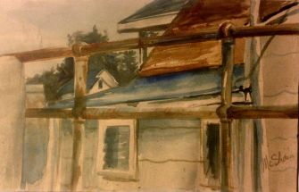 "Watercolor on paper, 150$, unframed, 5x8"", William Townsend House, WC100"