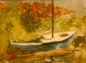 Blue Boat in Autumn