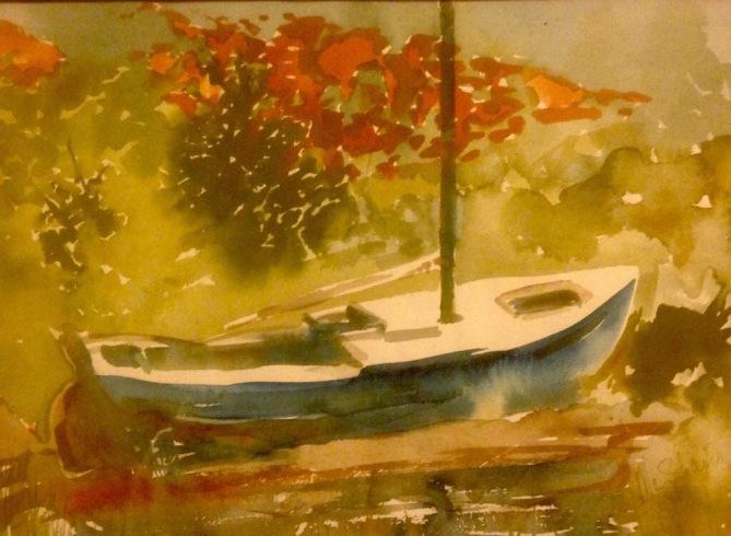 Blue Boat in Autumn
